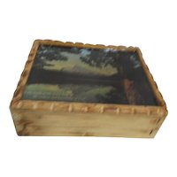 Hand Made Wooden Bible Box with Mountain Scene on Lid