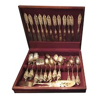 Godinger Gold Electroplated Baroque Dinner Utensils Set for 12 in Wood Case