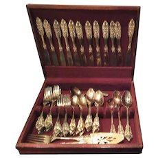 Godinger Gold Electroplated Baroque Dinner Utensils Set for 12 in Wood Case