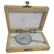 Vintage Deflectorion Gauge Metric  for 0.01mm - 0-10mm in Wooden Box