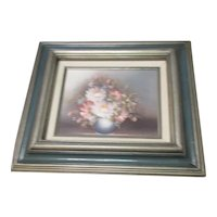 Signed Oil Painting Wood Frame Bowl of Flowers