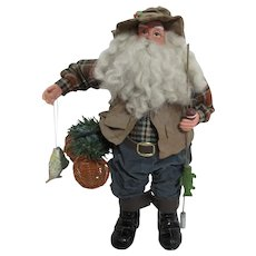 Christmas Fishing Santa Doll with Fish; Fabric Mache Vest and Pants