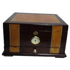 Quality Importers Trading Company Humidor with Inlaid Wood Decoration and Hygrometer
