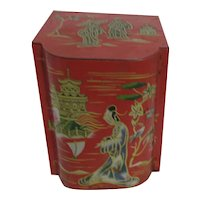 Baret Ware Tea Tin Painted Asian Design
