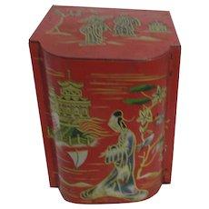 Baret Ware Tea Tin Painted Asian Design