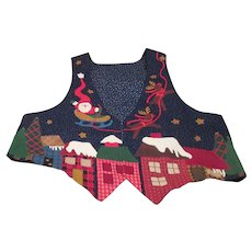 Large Christmas Vest with Appliqued Scenes