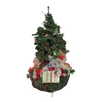 Christmas Tree in Basket of 4 Bears