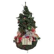 Christmas Tree in Basket of 4 Bears