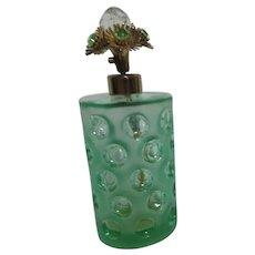 I.W. Rice & Co. Green Glass Perfume Bottle