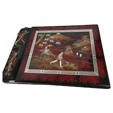 Japanese Photo Album with Mother of Pearl Inlaid Cover and Music Box