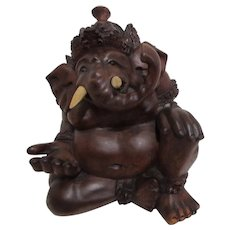 Carved Wood Statue of Hindu Deity Ganesha
