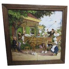 J.C. Hunnik Framed 4 Tile Dutch Scene