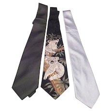 Set of 3 Men's Silk Ties Silver, Dark Green and Koalas