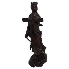 Carved Wood Sculpture of Young Chinese Woman with Bolt of Material