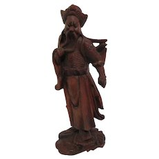 Carved Wood Chinese Man with Owl