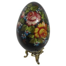 Russian Black Lacquer Egg Hand Painted with Flowers