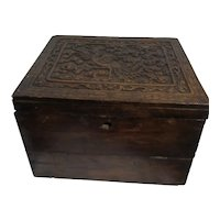 Antique Asian Travel Desk with Carved Phoenix on Lid