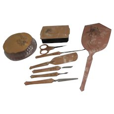 9 Piece Celluloid Vanity and Manicure Set