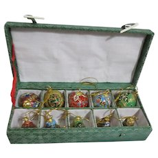 10 Asian Cloisonne-style Christmas Tree Ornaments in Brocade Box