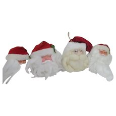 4 Santa Clause Soft Sculpture Heads for Christmas Ornaments