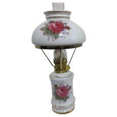 Small Ceramic Oil Lamp Roses and Gold Trim