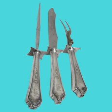 Set of 3 Silver Plated Serving/Carving Utensils Meat Knife, Fork and Skewer