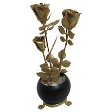 Small Black Metal Footed Bowl with 3 Gold Roses