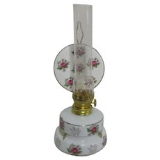 Small Oil Lamp with Reflector Red Roses on White