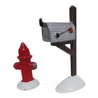 "Dept 56 The Original ""Snow Village"" Accessories 3 Park Benches, Hydrant & Mail Box"