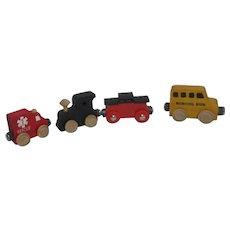 4 Piece Wooden Toy Train 3 Maple Landmark Woodcraft