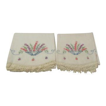 Pair of Hand Embroidered Pillowcases with Crocheted Border