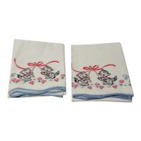 "Pair of 28"" Long Pillow Cases with Embroidered Kittens and Crocheted Edging"