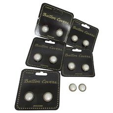 12 Button Covers Gold Tone Braid Border with Faux Pearl Center on Cards with 2 Loose