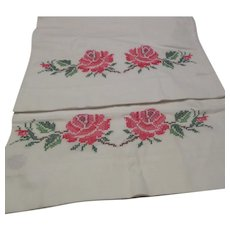 "Pair of 31"" Long Pillowcases with Cross-stitched Roses"