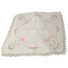 Square 2' Linen Tablecloth Embroidered with Crocheted Edging