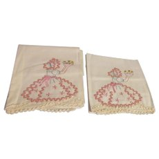 "Pair of 31"" Pillowslips Embroidered with Rick-Rack, Crocheted Edge"