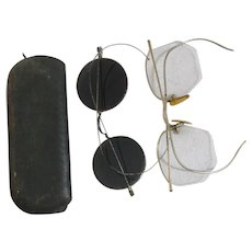 Old Pair of Gold Rim Bifocals with Case and Pair of Metal Rim Sunglasses