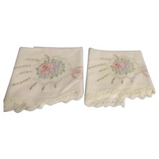 Set of Embroidered Pillow Cases with Crocheted Edging