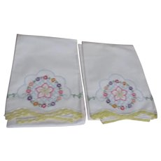 Pair of Embroidered Pillowcases with Crocheted Edging