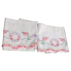 Pair of Pillowcases with Hand Embroidered Flowers and Crocheted Border