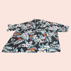 Men's Evergreen Island Hawaiian Shirt with Parrots and Flowers