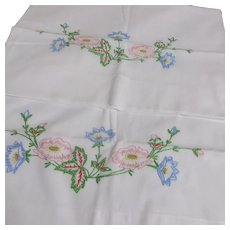 Pair of Embroidered Pillowcases Large Colorful Flowers