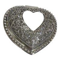 Silver Plate Victorian Style Heart Dresser Lidded Box