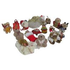 Set of 17 Small Plush Teddy Bear Christmas Tree Ornaments