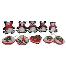 Set of 10 Christmas Tree Ornaments Yarn and Mesh