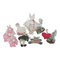 Set of 8 Christmas Tree Ornaments Bunny Rabbits