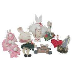 Set of 8 Christmas Tree Ornaments Bunny Rabbits