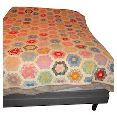 Grandmother's Flower Garden Cotton Quilt Hand Sewn