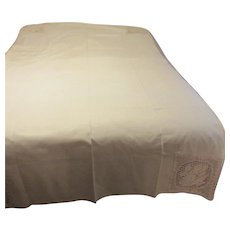Cream Colored Linen Tablecloth with Crocheted Edging and Corner Encasements & 8 Napkins