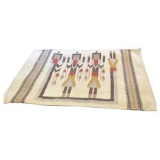 Navajo Mid-Century Native American Wool Woven Rug Wall Hanging
